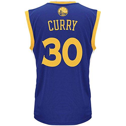 Camiseta de baloncesto para hombre de Stephen Curry de los Golden State Warriors. Diseño de adidas, color azul y dorado - 7470A-CURRY, Stephen Curry, XXL, Azul