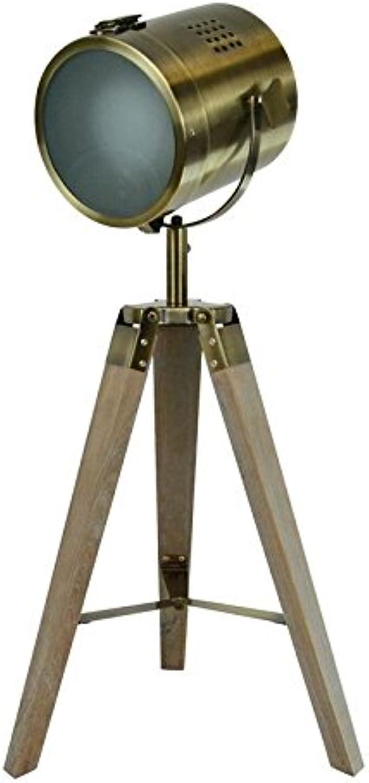 Focolux Vintage Industrial Bronze Tisch Stehleuchte Antik Messing, Studio Marine Searchlights Kupfer nautischen Dekor, Holz Antik Kino Movie Requisiten, Messing fluter Schreibtisch Leselichter- Chrom