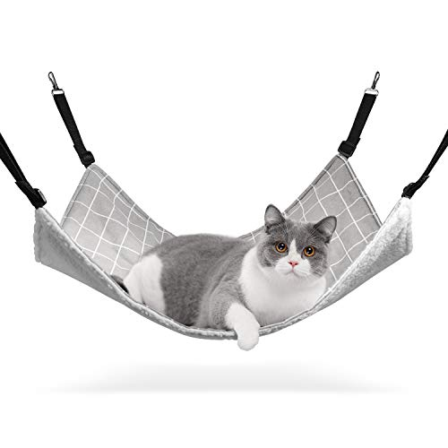 ComSaf All-season Cat Hammock, 56 x 48cm(L x W), Pet Cage Hammock Bed, Adjustable, Also for Rabbit, Guinea Pig, Puppy, Other Small Animals
