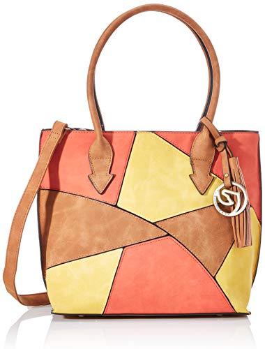 Remonte Damen Q0605 Handtasche, Mehrfarbig (Sonne/Nuss/Orange), 13x25x28 cm (B x H x T)