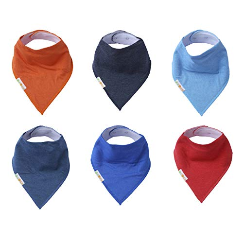 Solid Bandana Bibs 6 Pack Drooling Bibs for Boys and Girls