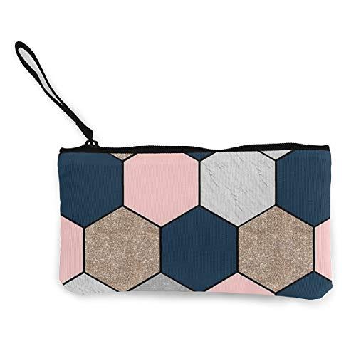 Wrution Geldbörse/Geldbörse aus Segeltuch mit Reißverschluss, klein, weiblich, tragbar, große Kapazität, Marineblau und pfirsichfarben, geometrische Hexagons
