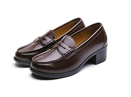 [GIO&GIA] [ジオアンドジア] レディース 学生靴 ヒールアップ スクール ローファ 軽量 通勤 通学 撥水加工 軽量 防滑 防臭 衝撃緩衝性 履き心地 (23, ダークブラウン)