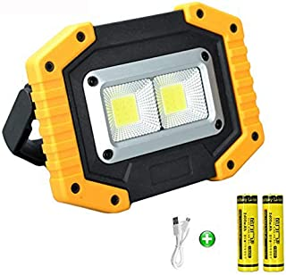 longdafei Rechargeable Floodlight, 30W LED Rechargeable Work Light Outdoor Floodlight Camping Lights with USB Waterproof f...