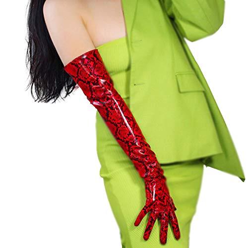 DooWay Latex Long Women Fashion Gloves Shiny Red Leather PU Wet Look 22-inch Elbow Opera Animal Print Python Snake