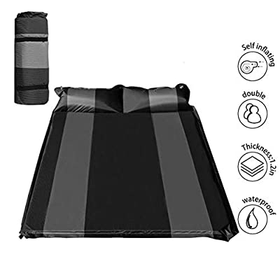 """WILD FUN 2 Person Double Self-Inflating Sleeping Pad with Pillow,Lightweight,75"""" x 52"""" Sleep Mat, Moisture-Proof Camping Pad, Perfect for Hiking & Backpacking"""