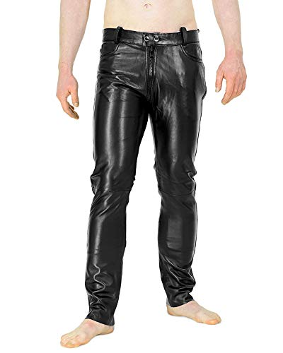 Bockle® Brothers Gay-Zip Lamb Lederhose mit durchgehendem Reißverschluss Zip, Size: W31/L32