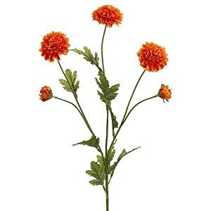 28″ Pompon Mum Silk Flower Stem -Orange (Pack of 12)