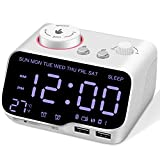 Uplift Alarm Clock Radio Bluetooth Speaker Battery Backup Clock with Dimmer,FM Radio,Sleep Timer,Dual Alarms,Snooze,2 USB Charging Ports,TF Card,Thermometer,Digital Clock for Bedroom,White