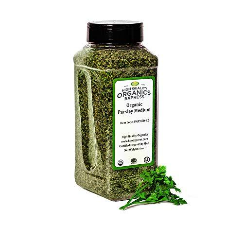 HQOExpress | Organic Parsley Flakes | Leaf | 4 oz. Chef Jar | Certified USDA