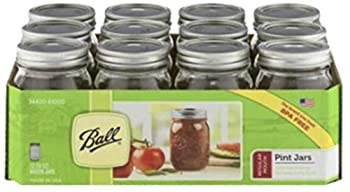 12 Ball Mason Jar with Lid - Regular Mouth - 16 oz by Jarden  Packs of 12