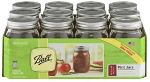 12 Ball Mason Jar with Lid - Regular Mouth - 16 oz by Jarden (Packs of...