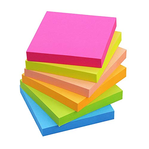 Sticky Notes 3x3, 6 Color Bright Colorful Sticky Pad, 12 Pads/Pack, 100 Sheets/Pad, Self-Sticky Note Pads (Yellow, Green, Blue, Orange, Pink, Rose)