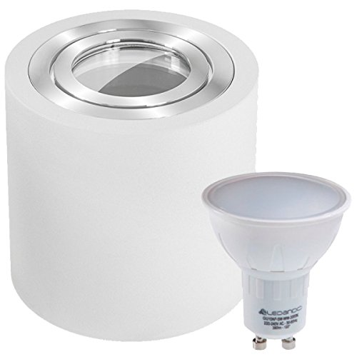 IP44 LED Aufbaustrahler Set Weiß mit LED GU10 Markenstrahler von LEDANDO - 5W - warmweiss - 120° Abstrahlwinkel - Feuchtraum/Badezimmer - 35W Ersatz - LED Aufbauleuchte Zylinder