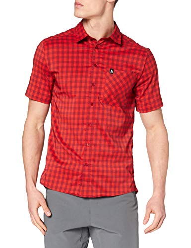 Odlo Herren Hemd Shirt s/s Nikko Check, red Dahlia - Fiery red - Check, S, 592812
