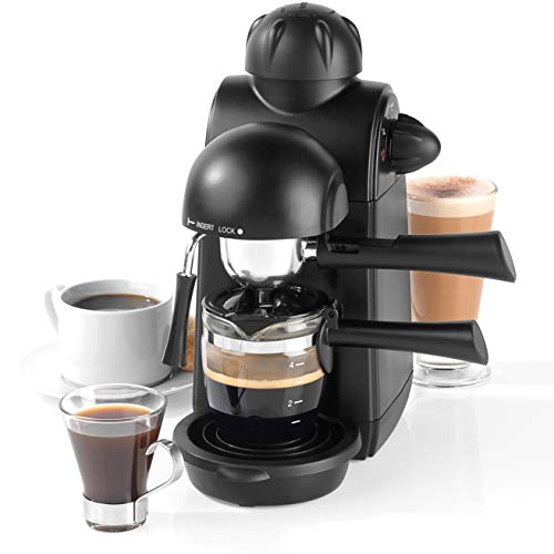 Salter EK3131 Espressimo Barista Style Coffee Machine with Tempered Glass Cup | 5 Bar Pump Pressure | Ideal for Lattes, Espresso, Cappuccino & More | Removable Drip Tray, Black