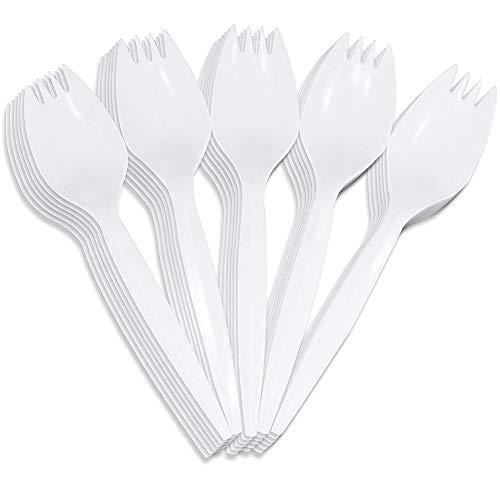 hellomagic - Tenedores y cucharas Desechables de plástico para Comidas Escolares, picnics, Fiestas, restaurantes, Adultos y niños (100 Unidades)