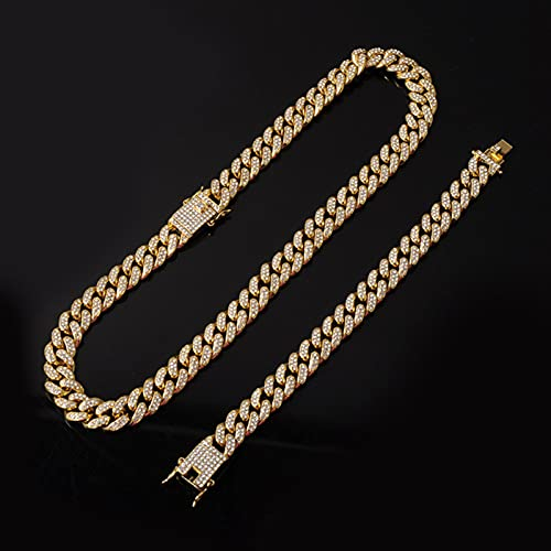 ADON Color de plata collar +reloj+pulsera Hip Hop Miami Curb cadena cubana completa helada hacia fuera pavimentado Rhinestones CZ para hombres joyería