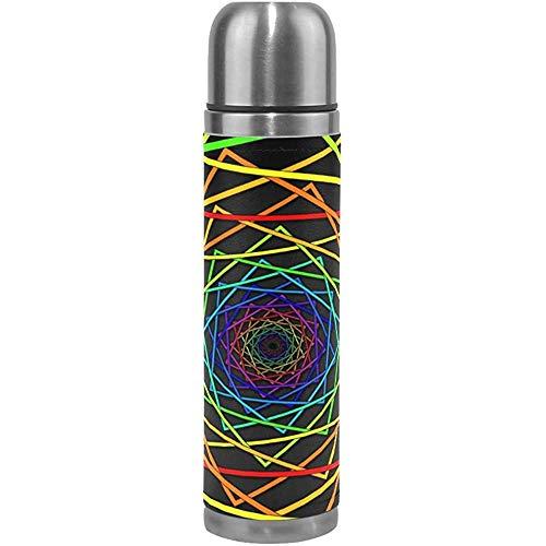 Isolierflasche Edelstahl Dreidimensionale Farbe Quadrat Schwindel Wasser Tasse Sport Kaffee Reisebecher Aus Echtem Leder Abdeckung, 17 Unzen (500 Ml)