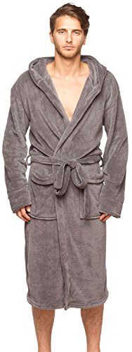 Wanted Men#039s Lightweight Plush Fleece Hooded Spa Robe Charcoal Large/XLarge