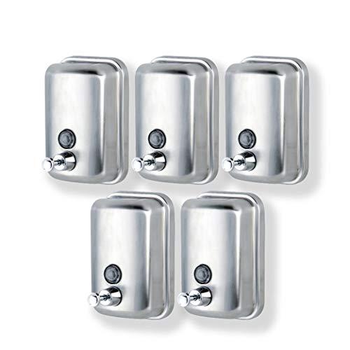 Pack 5 x Dispensadores de Jabón Manual montado en la Pared en Acero Inox · Dosificador Jabon Baño con Capacidad de 1L ·...