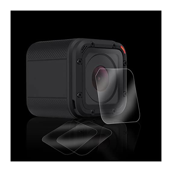(Pack of 3) Tempered Glass Screen Protector for Gopro Hero 4 Session Hero 5 Session, Akwox 0.3mm 9H Hard Scratch… 5 High Hardness: 9H surface hardness tempered glass screen protector for GoPro session. Featuring maximum protection from high impact drops, scratches, scrapes, and bumps. High Transmittance Transparent: With not influence the Video shooting effect. Super Toughness: The protector will not break into small sharp pieces even if it is broken, which makes it safer than other glass products.