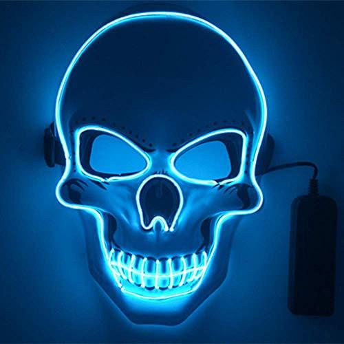 Shirylzee Maschera LED Halloween, Halloween Purge Mask Maschere Horror LED Maschera Viso 3 modalità di Luci per Il Costume Cosplay Feste di Halloween Christmas Party Batteria Alimentata (Non Inclusa)