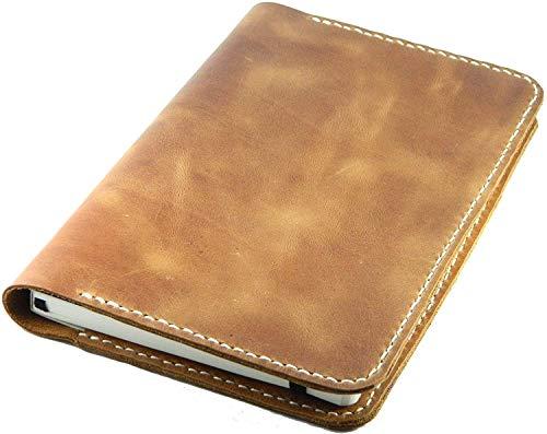 Lujo hecho a mano rústico envejecido protector de pasaporte vintage billetera de viaje titular de la cubierta de la tarjeta de crédito organizador de notas de campo 14 cm x 10 cm - marrón