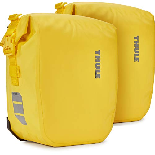 Thule 1 par de alforjas para bicicleta Shield Pannier de 13 litros, impermeables, color amarillo, amarillo, small, Mochila de a diario