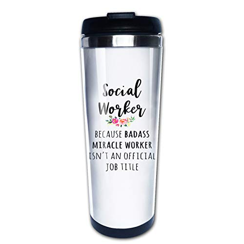 Funny Social Worker Gifts for Men Women Graduation Birthday Christmas, Travel Mug Tumbler With Lids Thermos Coffee Cup Vacuum Insulated Flask Stainless Steel Hydro Water Bottle 15 oz