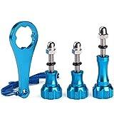 REYOK Tornillo de Aluminio, 1 Tornillo de Mariposa Largo + 2 Tornillos de Mariposa Cortos +1 Llave para Gopro Hero 8/7/6/5/4/3+/3/2/1 (Azul)