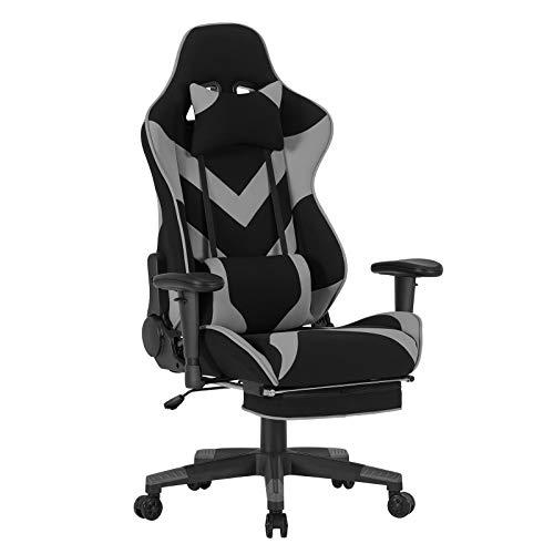 WOLTU® Racing Stuhl BS21gr Gaming Stuhl Bürostuhl Schreibtischstuhl Sportsitz mit Kopfstütze und Lendenkissen, Armlehne verstellbar, mit Fußstütze, Stoffbezug, höhenverstellbar, Grau