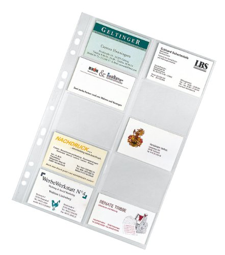 Veloflex 5341000 Visitenkartenhüllen DIN A4, 20 Karten pro Hülle, 10er Packung, glasklar