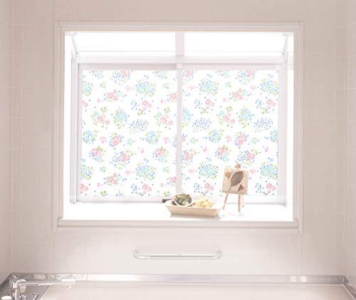 明和グラビア のり残りしない浴室目隠しシート(凸凹面に貼れます) KYMS-4660 46cm丈×90cm幅 花柄 ピンク