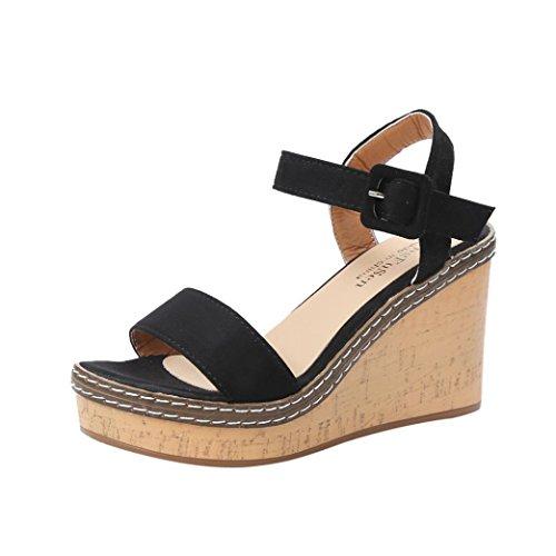 PAOLIAN Sandalias de Vestir de Mujer Plataforma Verano 2018 Terciopelo Open Toe Sandalias de Cuña Zapatos de tacón Clásicos de Boca de Pescado Mujer Fiesta Hebilla
