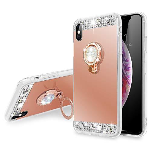 SQMCase Funda iPhone XR, Glitter Diamond Mirror Maquillaje Suave TPU Estuche a...