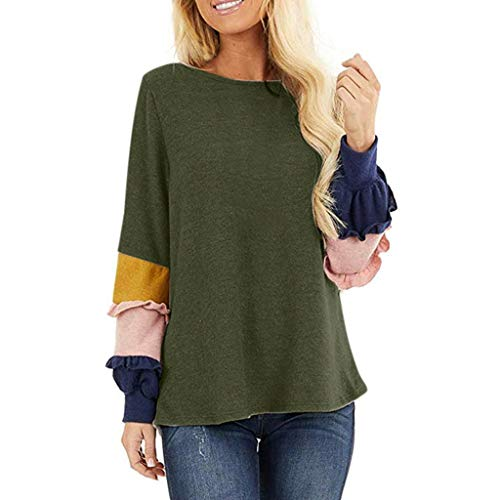 Best Review Of Blouse for Women Casual Ladies Stylish Fall Winter Shirts Round Neck Long Sleeve Colo...