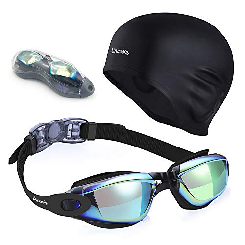Uniswim Swimming Goggles Swim Cap Set, Professional Swim Goggles for Men Anti Fog UV Protection, Solid Silicone Swimming Cap for Women Long Hair Waterproof Cover Ears - Colorful Black