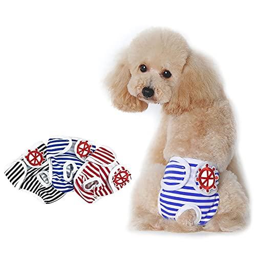 PETLESO Hundewindeln 3pcs Läufigkeitshose für Hündinnen Waschbare Hunde Schutzhöschen Inkontinenz Windeln für Hund-M
