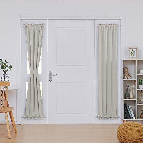 Deconovo Door Panel Curtain - Rod Blackout,Drapery and Thermal Insulated Window Curtain Panel for Living Room, 25x72 in, Light Beige, 1 Panel