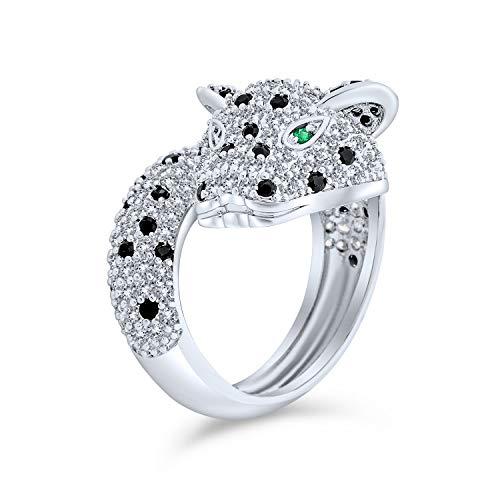 Bling Jewelry Occhio Verde Bianco Nero Cubic Zirconia CZ Moda Pantera Leopard Cat Anello di per Donne in Ottone Placcato in Argento
