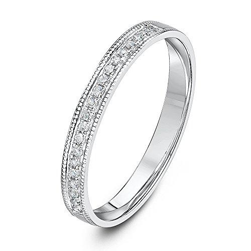 Theia 9ct White Gold Flat Court 0.10ct Round Diamond Millgrain Edge 2.5mm Eternity Ring - Size P
