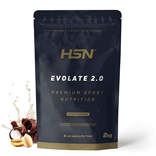 Aislado de Proteína de Suero de HSN Evolate 2.0 | Whey Protein Isolate | Proteína CFM + Enzimas Digestivas (Digezyme) + Ganar Masa Muscular | Vegetariana, Sin Gluten, Sin Soja, Choco Cacahuete, 2Kg