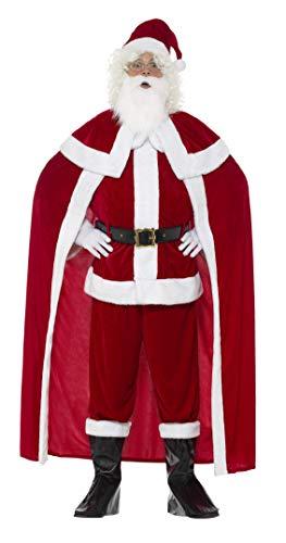 Smiffys, Herren Deluxe Weihnachtsmann Kostüm, Hose, Jacke, Umhang, Gürtel, Stiefel Überzieher, Handschuhe, Bart und Hut, Größe: XL, 43126