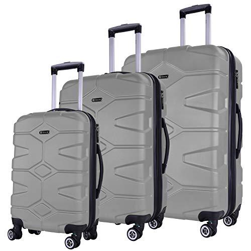 Shaik Serie RAZZER SH002 Design PMI Hartschalen Kofferset, Trolley, Koffer, Reisekoffer,4 Doppelrollen,25% mehr Volumen durch Dehnfalte (Space Grau,3er Set)