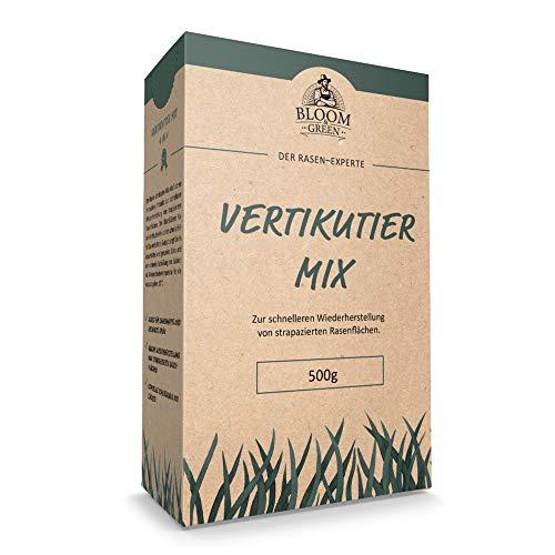 Vertikutiermix Bloom & Green I 4 in 1 Garten- und Rasenpflege: Organisch-Mineralischer NPK-Dünger mit Eisen, Rasen-Nachsaat, Rasenpflaster & Bodenverbesserer durch Rasen-Regeneration I 0,5kg