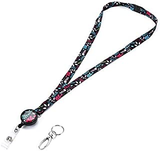 Grekywin Artistic Breakaway Neck Lanyard for ID Badge, Badge Holder with Retractable Badge Reel Removable Buckle for Women