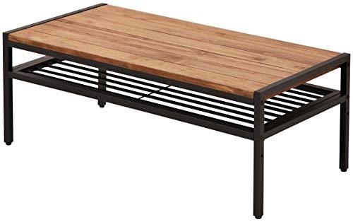 ガーデンガーデン アイアン*ウッド センターテーブル 90cmタイプ 幅90cm×奥行46cm×高さ35cm パイン材 オイル仕上げ PT-900BRN