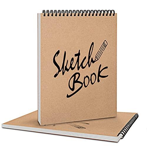Coolzon Zeichenblock Skizzenbuch A4 Dickes Papier, 2 Stück Hardcover Sketchbook A4 Skizzenbuch Spiralbindung für Kinder Erwachsene Säurefreies Zeichenpapier Skizzenblock 30 Blatt
