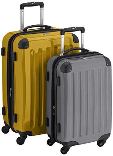 HAUPTSTADTKOFFER - Alex - 2er Koffer-Set Hartschale glänzend, 65 cm + 55 cm, 74 Liter + 42 Liter, Gelb-Titan